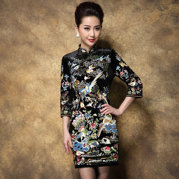 Vintage Dresses Europe Fashion New Chinese Style Luxury Embroidery Bird + Peacock Slim Cheongsam Collar Elegant Dress - Hespirides Gifts