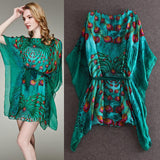 Casual Dresses New Fashion Women European Brand Batwing sleeveGreen / Yellow Peacock Feathers Loose Print Dress with Belt - Hespirides Gifts - 1