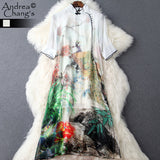 spring summer runway designer womens dresses white silk dress knee length flower mountain peacock print vintage brand silk dress - Hespirides Gifts - 1