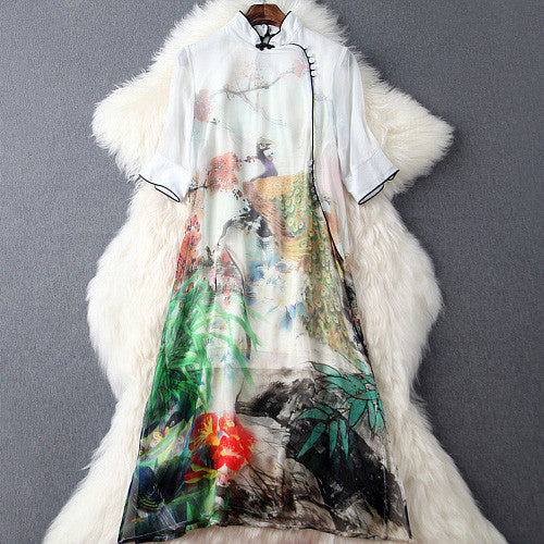 spring summer runway designer womens dresses white silk dress knee length flower mountain peacock print vintage brand silk dress - Hespirides Gifts - 2