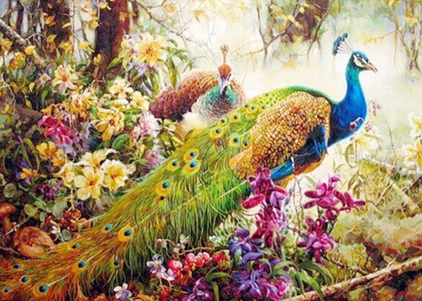Queen Of Birds Peacocks Diamond Painting Cross Stitch Of Diamonds Embroidery Mosaic 50*70cm For Home Bed Kids Room Decoration - Hespirides Gifts