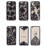 Retro Vintage Print Pattern Flower Phone Case Cover For iPhone 6 6S Hard Cases For Iphone6 Black Lace Floral Case Back Cover - Hespirides Gifts - 1