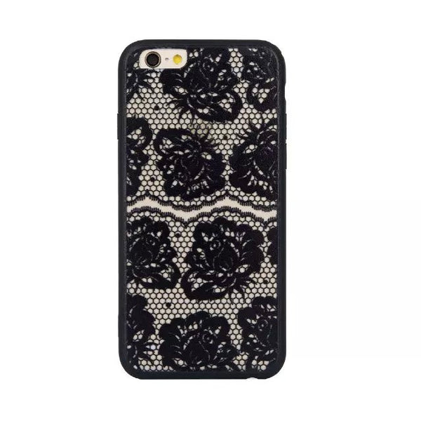 Retro Vintage Print Pattern Flower Phone Case Cover For iPhone 6 6S Hard Cases For Iphone6 Black Lace Floral Case Back Cover - Hespirides Gifts - 5