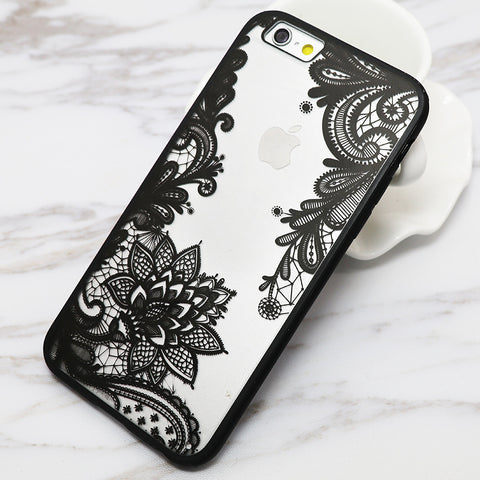 Sexy Lace Floral Paisley Flower Mandala Henna Clear Case For iphone 6 6S Plus 6Plus Phone Cases Fashion Cartoon Capa Back Cover - Hespirides Gifts - 1