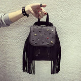 New Tassel Backpack Women Leather Backpack Punk Style Double Shoulder Bag Backpack Personality Rivet Bag Mochila Sac - Hespirides Gifts - 11