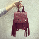 New Tassel Backpack Women Leather Backpack Punk Style Double Shoulder Bag Backpack Personality Rivet Bag Mochila Sac - Hespirides Gifts - 10