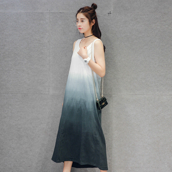 women dress summer loose casual tie die long maxi dresses KB1116 - Hespirides Gifts - 3