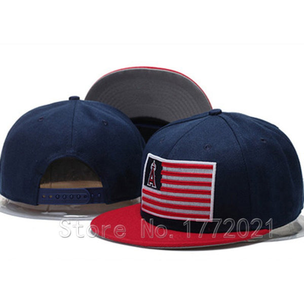 Men's adjustable baseball sport team hats merica flag logo Los Angeles Angels of Anaheim snapback caps - Hespirides Gifts