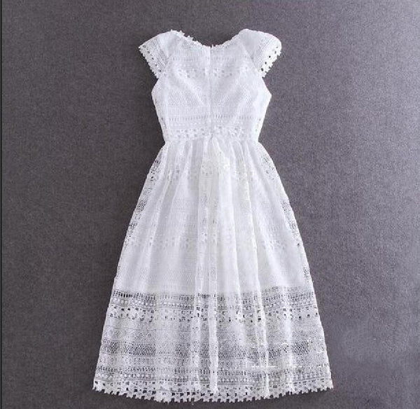 soonyour] new summer Hollow flowers lace collar long lace dress elegant short-sleeve women blue white LH0660S - Hespirides Gifts - 2
