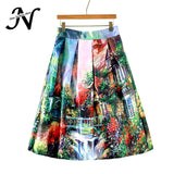 Colorful Fashion Print Casual Ladies Skirt Summer Women A-line Skirt European Style Natural Waisted New Skirts Womens Wear - Hespirides Gifts - 1