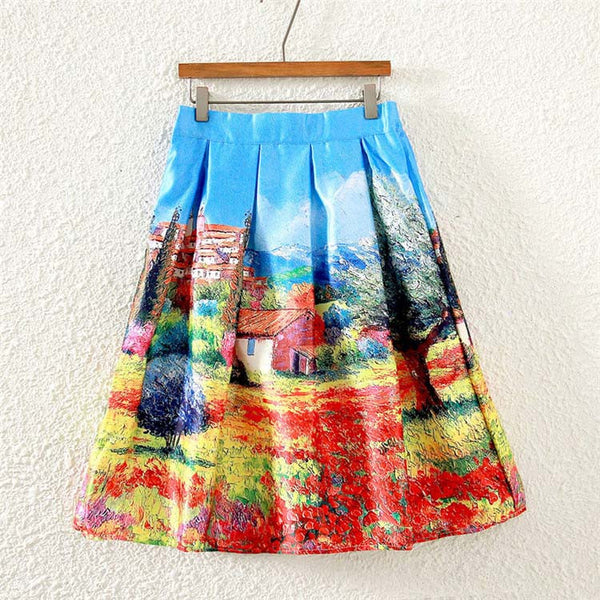 Colorful Fashion Print Casual Ladies Skirt Summer Women A-line Skirt European Style Natural Waisted New Skirts Womens Wear - Hespirides Gifts - 4