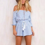 Sexy Striped Contrast Color Print Slash Neck Off The Shoulder Jumpsuit Women Drawstring Waist Long Sleeve Short Romper Overalls - Hespirides Gifts - 1