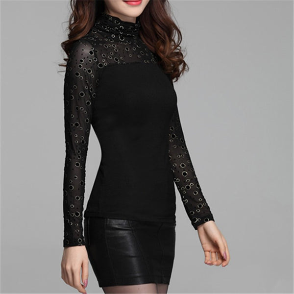 T Shirts Women Spring Autumn New M-3XL Plus Size Sexy Net Yarn Long Sleeve T-Shirt Fashion Dot Tee Shirt Femme Women'sTops - Hespirides Gifts - 4