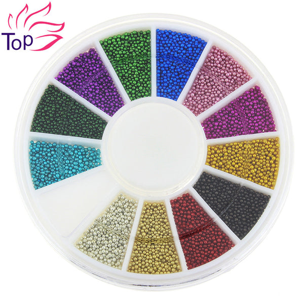 Top Nail 12 Color Steels Beads Studs For Nails Metal Caviar Design Wheel Charms 3D Decorations Nail Art Supplies ZP206 - Hespirides Gifts