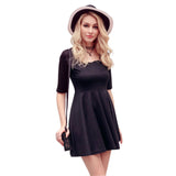 Summer Style O-Neck Women Dress Solid Half Sleeve Casual Mini Dress Female Vestidos - Hespirides Gifts - 3