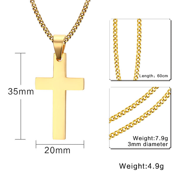 Meaeguet Cross Necklaces&Pendants For Men Stainless Steel 18K Gold Plated Male Pendant Necklaces Prayer Jewelry - Hespirides Gifts - 8