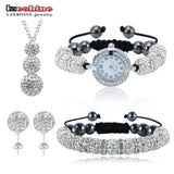 Shamballa Spacer Bead Disco Ball Set Four Pieces Earring Necklace Bracelet Watch Shambala Crystal Set Mix Color Option SLSTCmix1 - Hespirides Gifts - 1