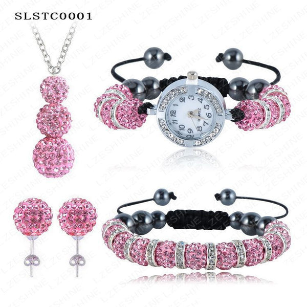 Shamballa Spacer Bead Disco Ball Set Four Pieces Earring Necklace Bracelet Watch Shambala Crystal Set Mix Color Option SLSTCmix1 - Hespirides Gifts - 5