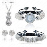 Shamballa Spacer Bead Disco Ball Set Four Pieces Earring Necklace Bracelet Watch Shambala Crystal Set Mix Color Option SLSTCmix1 - Hespirides Gifts - 17