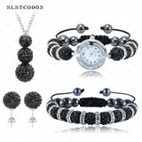 Shamballa Spacer Bead Disco Ball Set Four Pieces Earring Necklace Bracelet Watch Shambala Crystal Set Mix Color Option SLSTCmix1 - Hespirides Gifts - 8