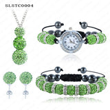 Shamballa Spacer Bead Disco Ball Set Four Pieces Earring Necklace Bracelet Watch Shambala Crystal Set Mix Color Option SLSTCmix1 - Hespirides Gifts - 19