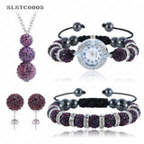 Shamballa Spacer Bead Disco Ball Set Four Pieces Earring Necklace Bracelet Watch Shambala Crystal Set Mix Color Option SLSTCmix1 - Hespirides Gifts - 4