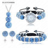 Shamballa Spacer Bead Disco Ball Set Four Pieces Earring Necklace Bracelet Watch Shambala Crystal Set Mix Color Option SLSTCmix1 - Hespirides Gifts - 6