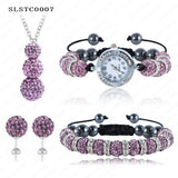 Shamballa Spacer Bead Disco Ball Set Four Pieces Earring Necklace Bracelet Watch Shambala Crystal Set Mix Color Option SLSTCmix1 - Hespirides Gifts - 2