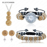 Shamballa Spacer Bead Disco Ball Set Four Pieces Earring Necklace Bracelet Watch Shambala Crystal Set Mix Color Option SLSTCmix1 - Hespirides Gifts - 10