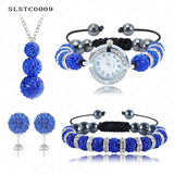 Shamballa Spacer Bead Disco Ball Set Four Pieces Earring Necklace Bracelet Watch Shambala Crystal Set Mix Color Option SLSTCmix1 - Hespirides Gifts - 18