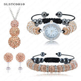 Shamballa Spacer Bead Disco Ball Set Four Pieces Earring Necklace Bracelet Watch Shambala Crystal Set Mix Color Option SLSTCmix1 - Hespirides Gifts - 12