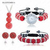 Shamballa Spacer Bead Disco Ball Set Four Pieces Earring Necklace Bracelet Watch Shambala Crystal Set Mix Color Option SLSTCmix1 - Hespirides Gifts - 3