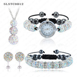 Shamballa Spacer Bead Disco Ball Set Four Pieces Earring Necklace Bracelet Watch Shambala Crystal Set Mix Color Option SLSTCmix1 - Hespirides Gifts - 9