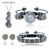 Shamballa Spacer Bead Disco Ball Set Four Pieces Earring Necklace Bracelet Watch Shambala Crystal Set Mix Color Option SLSTCmix1 - Hespirides Gifts - 11