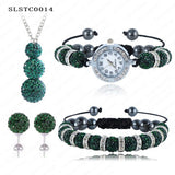 Shamballa Spacer Bead Disco Ball Set Four Pieces Earring Necklace Bracelet Watch Shambala Crystal Set Mix Color Option SLSTCmix1 - Hespirides Gifts - 14