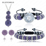 Shamballa Spacer Bead Disco Ball Set Four Pieces Earring Necklace Bracelet Watch Shambala Crystal Set Mix Color Option SLSTCmix1 - Hespirides Gifts - 7