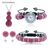 Shamballa Spacer Bead Disco Ball Set Four Pieces Earring Necklace Bracelet Watch Shambala Crystal Set Mix Color Option SLSTCmix1 - Hespirides Gifts - 20