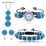 Shamballa Spacer Bead Disco Ball Set Four Pieces Earring Necklace Bracelet Watch Shambala Crystal Set Mix Color Option SLSTCmix1 - Hespirides Gifts - 13