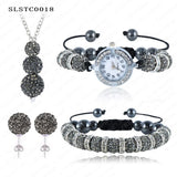 Shamballa Spacer Bead Disco Ball Set Four Pieces Earring Necklace Bracelet Watch Shambala Crystal Set Mix Color Option SLSTCmix1 - Hespirides Gifts - 15
