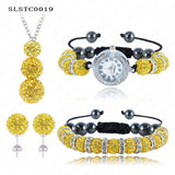 Shamballa Spacer Bead Disco Ball Set Four Pieces Earring Necklace Bracelet Watch Shambala Crystal Set Mix Color Option SLSTCmix1 - Hespirides Gifts - 16