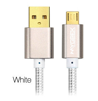 MyGeek Nylon Micro USB Cable for Samsung galaxy HTC Huawei Android 2m Fast Charge wire Microusb Mini USB Mobile Phone Cables - Hespirides Gifts - 2