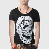Men Feather Skull Printed T-Shirts Fashion Cotton Fitness V Neck Hipster Funny Design Hip Hop Top - Hespirides Gifts - 3