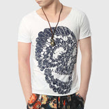 Men Feather Skull Printed T-Shirts Fashion Cotton Fitness V Neck Hipster Funny Design Hip Hop Top - Hespirides Gifts - 5