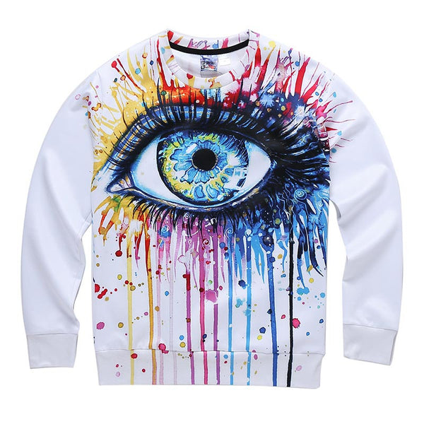 Classic model men/women 3d sweatshirt funny print colorful crying eyes autumn winter thin style casual hoodies