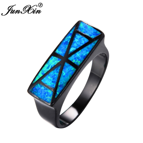 JUNXIN Brand Geometric Design Big Ocean Blue Opal Ring Vintage Wedding Engagement Rings For Men And Women Fashion Jewelry - Hespirides Gifts