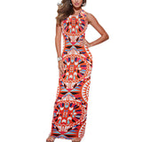 New 2016 Womens Summer Sexy Dress Boho Multicolor Print Sleeveless Casual Beach Party Bodycon Long Maxi Dress Roupa Feminina L3 - Hespirides Gifts - 1
