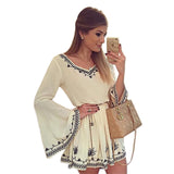 Summer Style Women Dress Vintage V-Neck Print Full Sleeve Causal Dresses Flare Sleeve Mini Vestido - Hespirides Gifts - 1