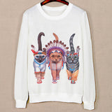 Three Cute Cat Pattern Female Hoodies Spring Harajuku Sweatshirts Long Sleeve O-Neck Pullovers Sudaderas Mujer Sport Hoody - Hespirides Gifts - 1