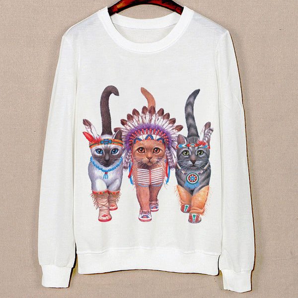 Three Cute Cat Pattern Female Hoodies Spring Harajuku Sweatshirts Long Sleeve O-Neck Pullovers Sudaderas Mujer Sport Hoody - Hespirides Gifts - 2
