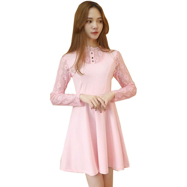 New Autumn And Winter Lace Stitching Dresses For Women Slim A Word Dress Women All Match Ladies Dresses Large Size Vestidos - Hespirides Gifts - 2